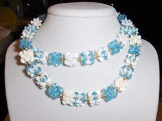 """""""Baby Blue Snowflake Block"""" necklace --- $2.00 + $3.00 shipping in the USA"""