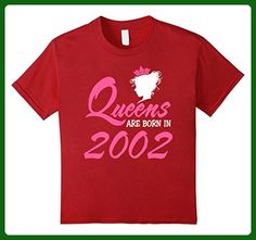 Kids Queens Are Born In 2002 15 Years Old 15th Birthday Gift Idea 10 Cranberry - Birthday shirts (*Amazon Partner-Link)