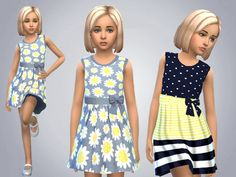 Set of 2 yellow and blue spring dresses for everyday and party wear Found in TSR Category 'sims 4 Female Child Everyday'