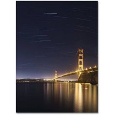 Trademark Fine Art Golden Gate and Stars Canvas Art by Moises Levy, Size: 14 x 19, Gold