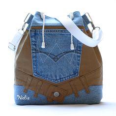 S přírodním podtónem II / Zboží prodejce Nielia Denim Backpack, Denim Tote Bags, Jean Purses, Purses And Bags, Mochila Jeans, Sweet Bags, Denim Handbags, Shirt Bag, Boho Bags