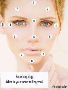 According to traditional Chinese Medicine, when there are imbalances in certain parts of your body, it will show up on your face. Diagnose your acne breakouts with MODERN's Face Mapping Guide.