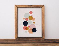 Geoemtric art abstrait affiche impression aquarelle par Wallzilla
