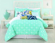 Trina Turk 3-Piece Trellis Comforter Set, Queen, Turquoise from Amazon