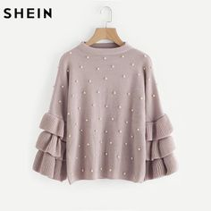 #fashion SHEIN Pearl Beaded Layered Ruffle Sleeve Loose Jumper Pink Crew Neck Long Sleeve Cute Women Sweaters and Pullovers