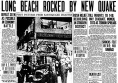 "Front-page news about the 1933 Long Beach Earthquake, published in the Evening Tribune newspaper (San Diego, California), 11 March 1933. Read more on the GenealogyBank blog: ""How to Research Your Genealogy with Google & Newspapers."" http://blog.genealogybank.com/how-to-research-your-genealogy-with-google-newspapers.html"