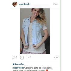 A linda mamãe da Antônia @lusantosdt arrasou com seu colete jeans de tachas e nos deixou super felizes ao dizer que amou os nossos coletes!  #coleteria sempre♡ #coletâneamundo #portorico #jeans #tachas #colete #coletes #coletefeminino #vest www.coleteria.com.br