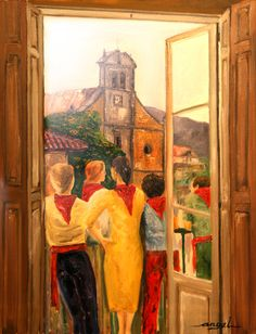 Oleo sobre lienzo 40x60 Ventanal de Ampuero en fiestas (Cantabria)