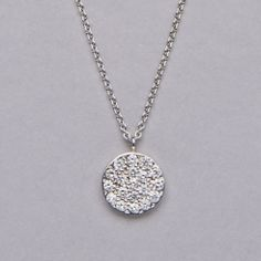 Meira T Pave Diamond Disc Necklace.
