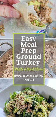 This Meal Prep Ground Turkey is easy, quick, and very versatile. It comes together in just 15 minutes and is ready to use for a bunch of different meals throughout the week. It is Paleo/AIP and Whole 30 compliant, gluten-free, dairy-free, and low carb. #mealprep #lowcarb #easymeals #autoimmuneprotocol #aiprecipe #paleorecipe #dairyfree #glutenfree #whole30 #groundturkey Paleo Meal Prep, Easy Meal Prep, Paleo Dinner, Easy Meals, Paleo Recipes, Real Food Recipes, Soy Sauce Alternative, Chicken Bacon Pasta