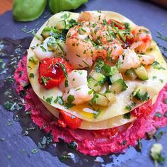 Shrimp Lasagna, Courgettes and Tomato Confit on creamy Beetroot sauce by laura giardina at 2016-04-03
