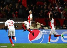 Radamel Falcao Garcia of Monaco celebrates scoring the second goal during the UEFA Champions League Quarter Final second leg match between AS Monaco. Carlos Valderrama, As Monaco, Uefa Champions League, Finals, Two By Two, Sports, Hs Sports, Final Exams, Sport