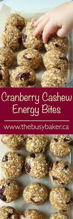 The Busy Baker: No-Bake Cranberry Cashew Energy Bites. 1 cups raw cashews 15 dates (pitted) cup water tsp vanilla 1 tsp cinnamon a pinch of salt 1 cups large flake oats (gluten free) cup dried cranberries 1 cup shredded unsweetened coconut No Bake Energy Bites, Energy Balls, Snack Recipes, Healthy Recipes, Clean Recipes, Free Recipes, Protein Bites, High Protein, Boite A Lunch