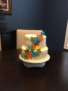 Puzzle piece cake-- adoption cake