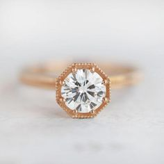 1ct Art Deco engagement ring in rose gold