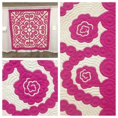 Hawaiian quilt with lokelani pattern and stitching details @honolulufest   Flickr - Photo Sharing!