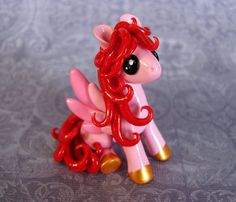 Red and Pink Valentine Pegasus by DragonsAndBeasties on Etsy