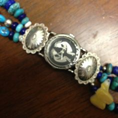 Sterling Silver Kokopelli Beaded watch Ladies Navajo Indian made watch, the band has sterling silver conchos and beads also turquoise and blue lapis beads.  The watch head is a quartz movement with a Kokopelli face. Jewelry