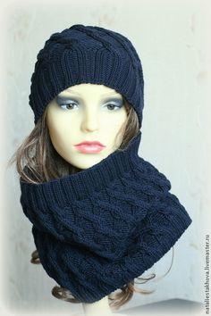 Снуд вязаный Criss Cross Cowl - темно-синяя шапка,шапка,шапка зимняя,зимняя шапка