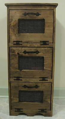 NEW Rustic Primitive Bread box Vegetable Potato Bin Cupboard Country Kitchen