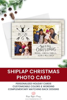 Share holiday greetings with rustic Shiplap holiday photo cards. Need to add more pictures or share a detailed message? Add a complementary custom back upgrade. We design, personalize, and professionally print your holiday cards for you. Shop Holiday Cards today.