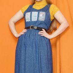 ae55b15ec1 Gorgeous Vintage 90s Denim Dress Size UK10. Featuring high - Depop Hippie  Dresses