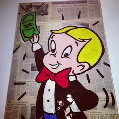Richie Rich! #alecmonopoly #canvas #newspaper #resin - @alecmonopoly- #webstagram