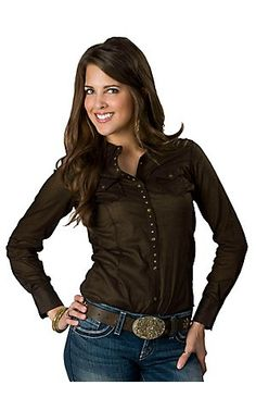 Ariat Women's Zephyz Espresso w/ Studs & Lace Cross Long Sleeve Western Shirt-- I want :)