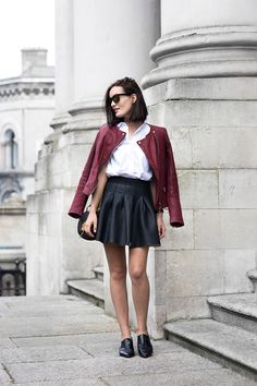 leather jacket with casual outfit