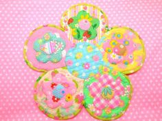 Antique Fabric Pinks Patchwork Quilt Doily Mat アンティークファブリックピンクス