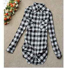 Women's Causal Grid Mid Shirt - USD $ 10.19