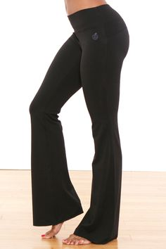 Back in Stock! Green Apple 33 inch Fitted Yoga Flare Black | www.downdogboutique.com