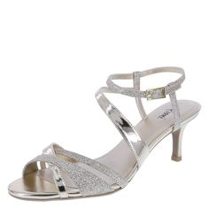 """This strappy number pulls out all the stops! The Mollie features a glittery upper with shiny mirrored accents, adjustable ankle sling with buckle, pearlized lining and padded footbed, low 2 1/2"""" wrapped kitten heel, and a rubber outsole. Manmade materials."""