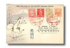 "Japan, 1939 (3 June) ""The Year of the Rabbit"" hand-painted envelope to Philadelphia"
