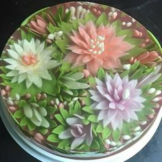 Gelatin art with 3d flowers