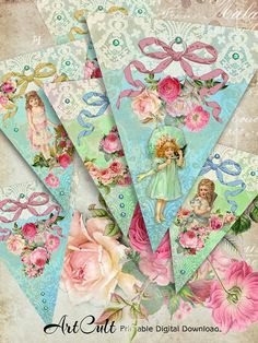 VICTORIAN FANTASY  Party Pennants triangle Banners by ArtCult