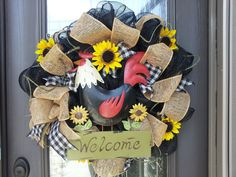 Rooster Welcome Mesh Wreath