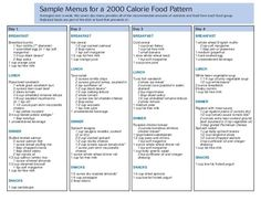Sample menu for 2000 calorie diet plan