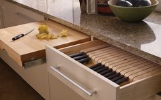 Pull-Out Chopping Block (to use as a microwave, oven, refrigerator landing spot) #kitchen