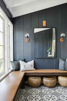 I keep thinking about how to add built in bench seating / hang space into our living room or den. Love the idea of little nooks to hang throughout the house Beach Cottage Style, Beach House Decor, Coastal Style, Beach Cottage Bedrooms, Cottage Style Decor, Coastal Bedrooms, Cottage Design, Cottage Ideas, Coastal Living