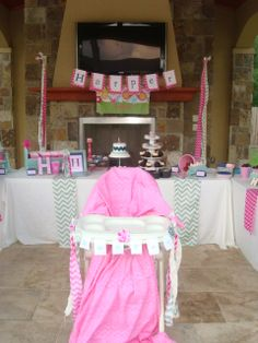 Chevron Toddler Birthday Party Sweet Station High Chair Cover and Banner by The Wedding Hub. wedding-hub.com
