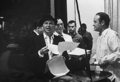 Frank Sinatra with comedian Bob Hope, at rehearsals for The Bob Hope Show, 1962.