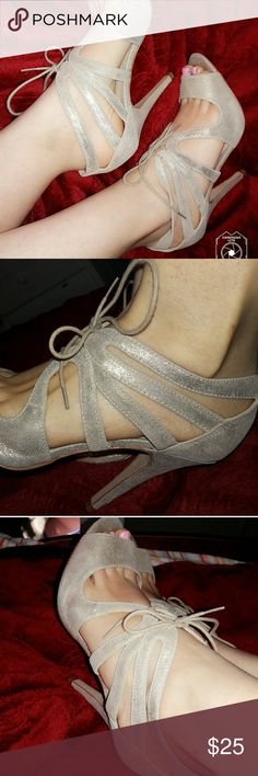 aldo gold glitter lace up heels used only 1x excuse my unpedicured feet. lol Aldo Shoes Heels