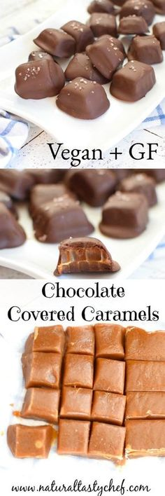 Melt in your mouth delicious! Vegan, gluten free, chocolate caramels, sea salted caramels, - this caramel looks good! Salted Chocolate, Dairy Free Chocolate, Chocolate Caramels, Chocolate Recipes, Chocolate Covered, Caramel Fudge, Chocolate Cream, Delicious Chocolate, Vegan Candies