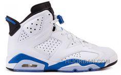 Authentic 384664-107 Air Jordan 6 Retro White Sport Blue-Black( Men Women)  A65zK bcf0c4820
