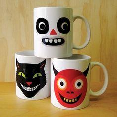 Frightful Ghoouls Mug Collection Halloween Mug, Cuppa Tea, Cat Mug, Pottery Painting, Hallows Eve, Coffee Cups, Tea Pots, Mugs, Tableware