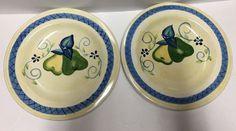 "HouseWare Dinner Plates Set/2 Pear Blue Green 11.5"" Yellow  | eBay"