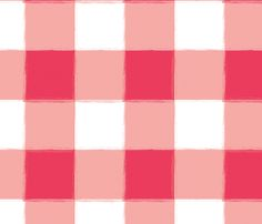 Watermelon Buffalo Check Gingham fabric by sugarfresh on Spoonflower - available as fabric, wallpaper and gift wrap