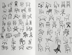 Bruno Munari, on chairs: for years and years architects and designers have been designing thousands of chairs.  But it seems the problem has not yet been solved, because architects and designers are still going on designing chairs, just as if all their efforts up till now had been wrong.   #brunomunari #chairs #DesignAsArt #handdraw