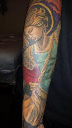 Saint Micheal tattoo done by Jason Marquez.